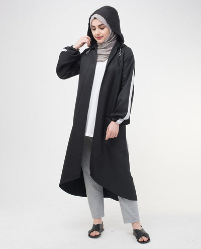 "Black Hooded Outerwear Small Petite (- 5'2"") Black"