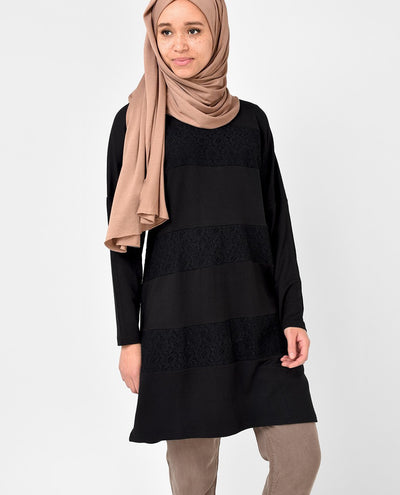 Black Lace Detail Top Slim