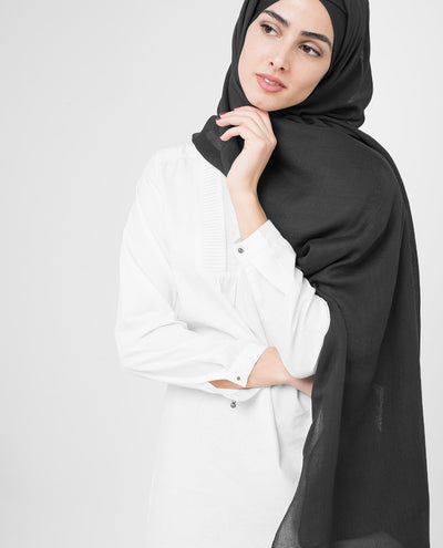 Black Viscose Hijab Regular Black