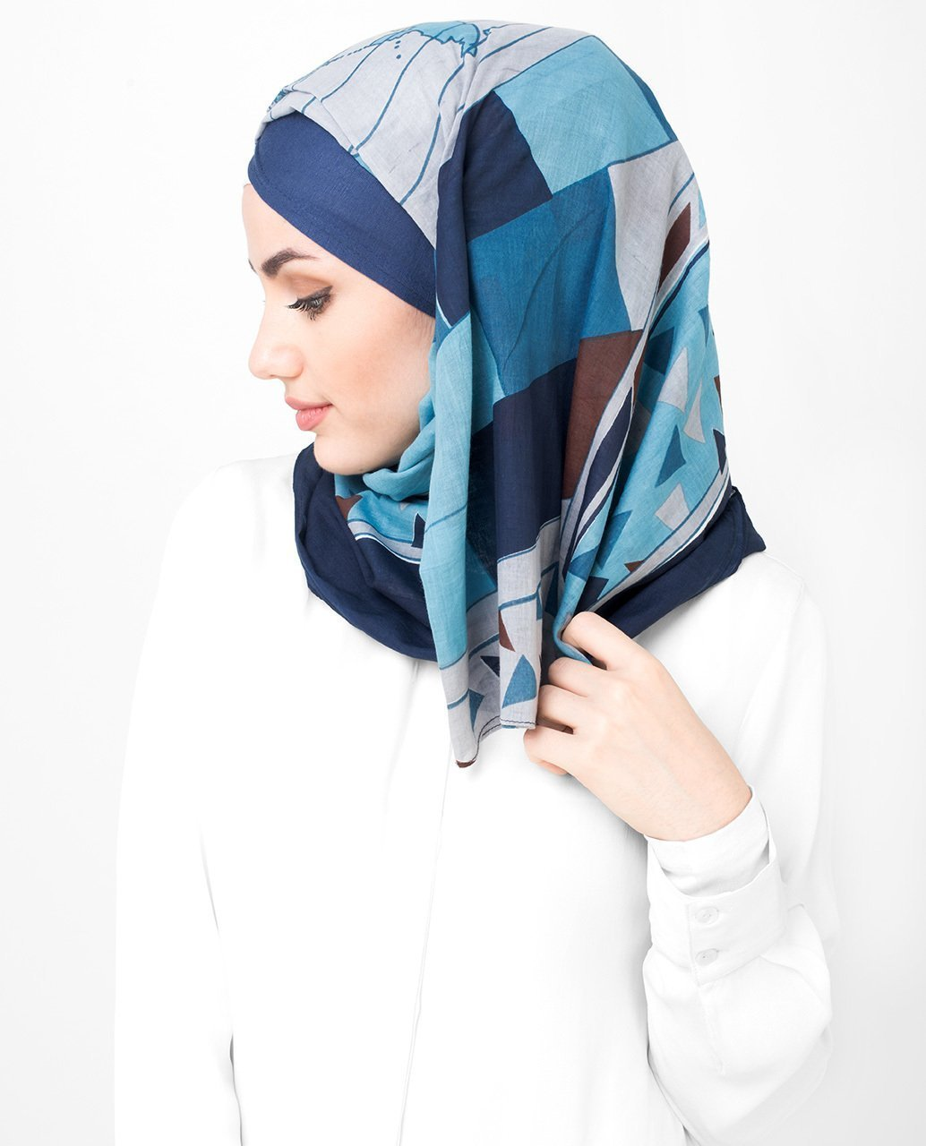Blue And Teal Cotton Voil Hijab Regular Blue And Teal