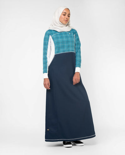 Blue Checked Effortless Tennis Inspired Print Abaya Jilbab S 54 Navy