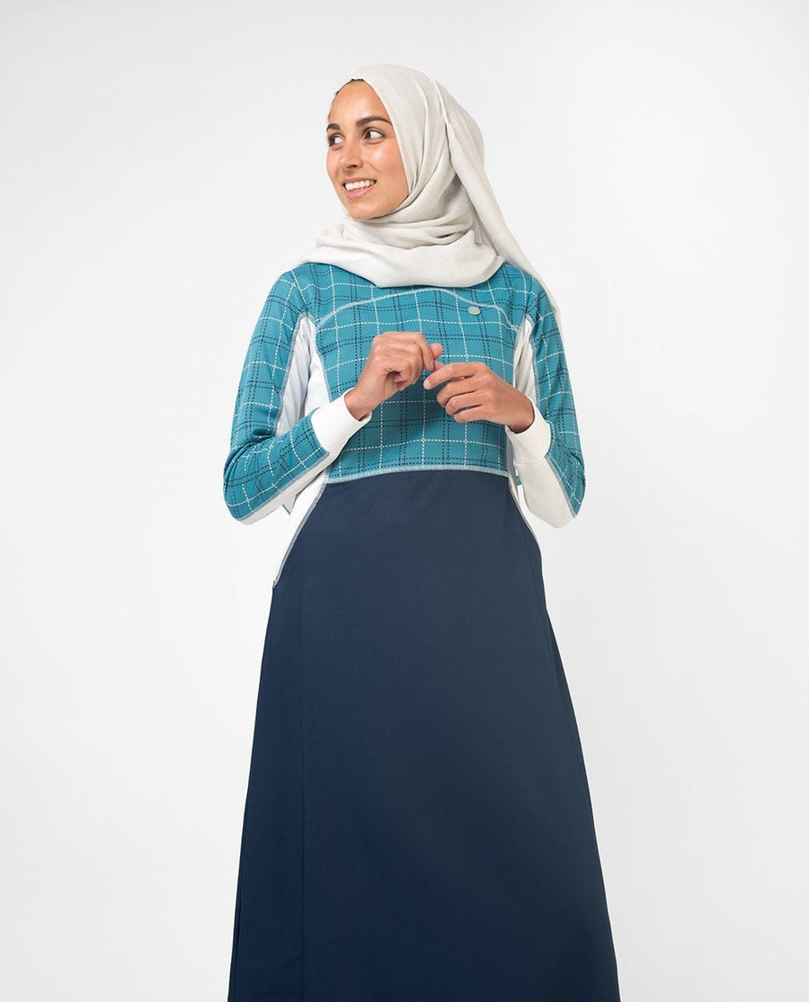 Blue Checked Effortless Tennis Inspired Print Abaya Jilbab