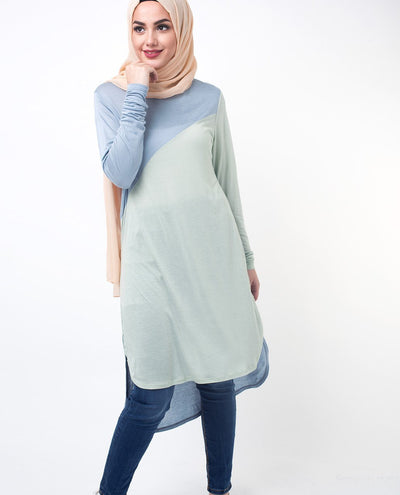 "Blue & Green Colour Blocking Modest Top Small (8-10) Petite (- 5'2"") Blue & Green"