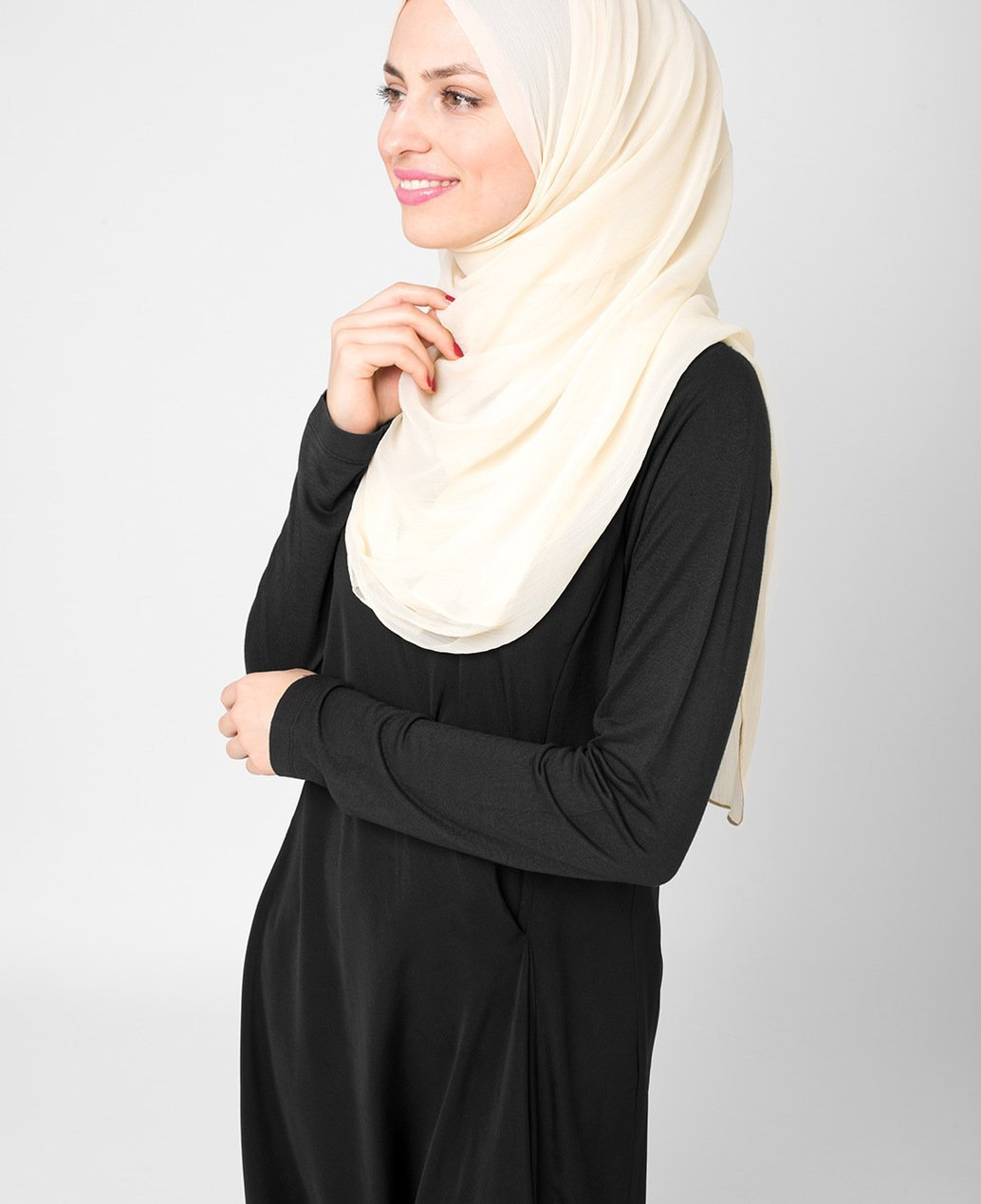 Bone White Poly Chiffon Hijab Regular