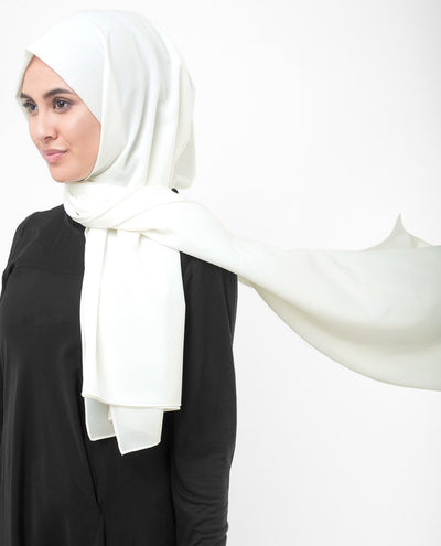 Bright White Poly Georgette Hijab Regular Bright White
