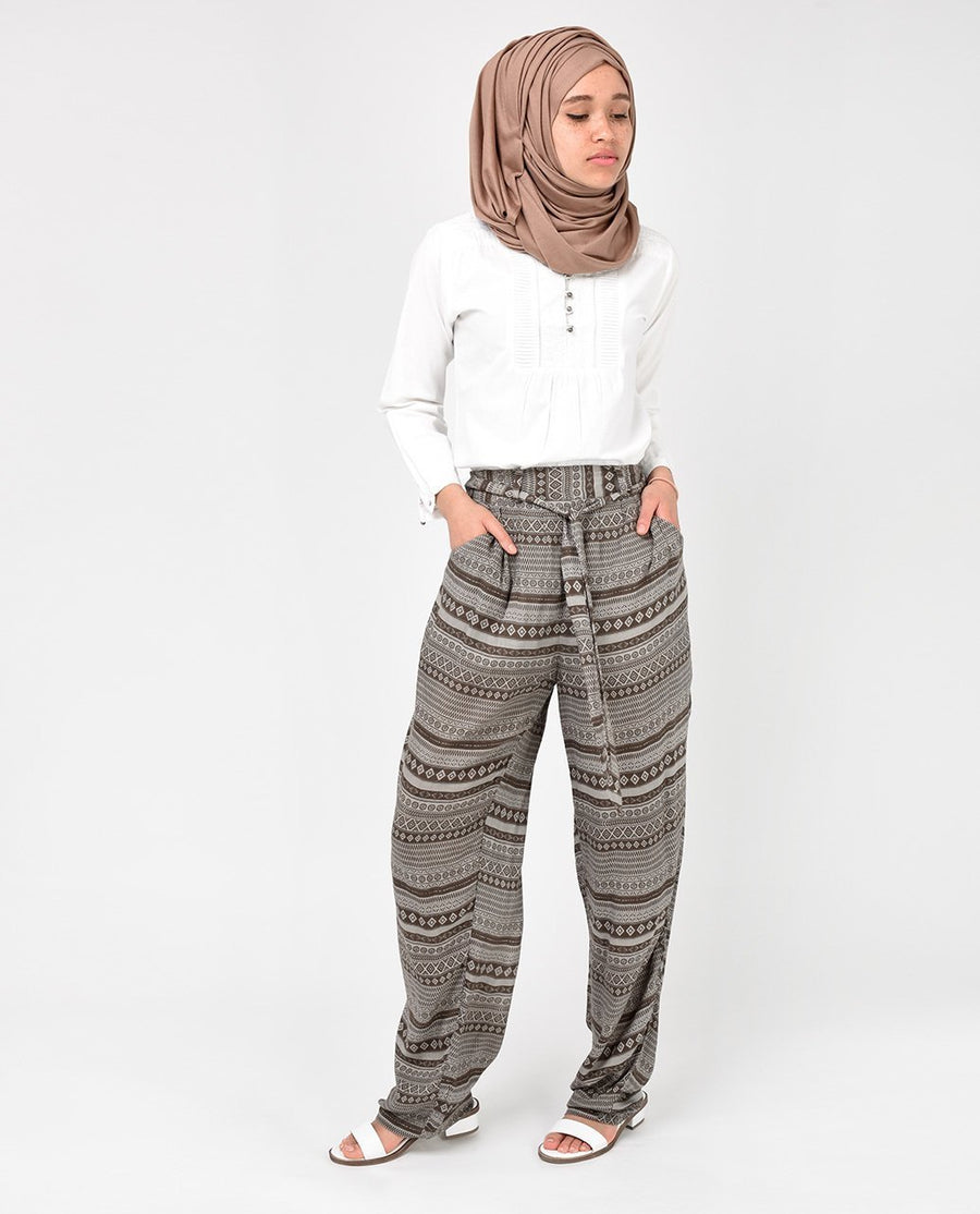 Brown Rayon Loose Fit Trousers Slim Petite (W28 L28)
