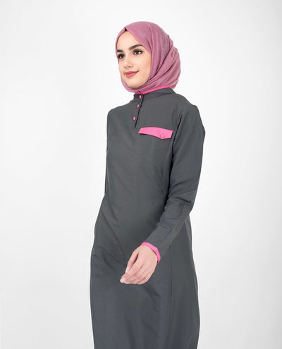 Casual Grey Abaya Jilbab With Pink Highlights S 54 Grey