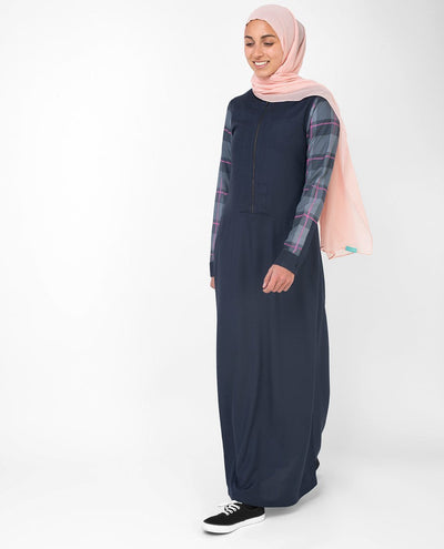 Casual Occasion Feminine Checked Blue Abaya Jilbab S 54 Navy