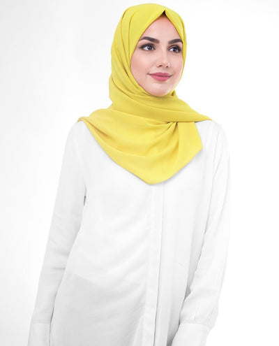 Celery Poly Georgette Hijab Regular Celery Yellow
