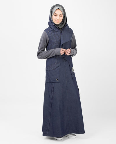 Circuit Breaker Denim Abaya Jilbab Slim 52 (Medium 52) Denim Blue