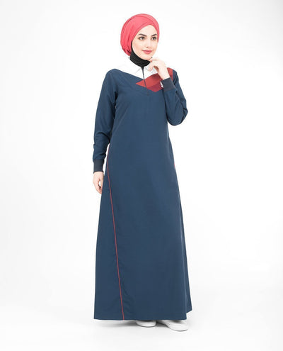 Classic Sporty Blue Zip Collared Abaya Jilbab S 54 Blue