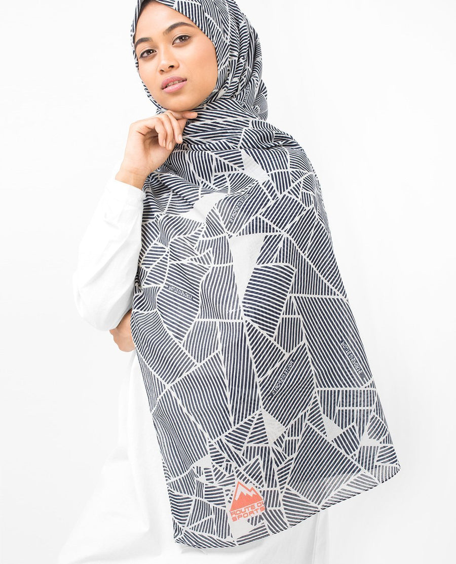 Abstract Striping Cotton Voile Hijab