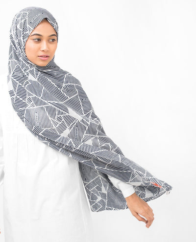 Cotton Voile Hijab in Abstract Striping Regular Navy and Grey