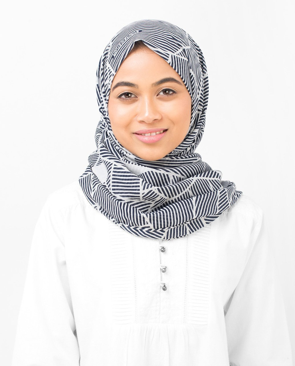 Cotton Voile Hijab in Abstract Striping Maxi Navy and Grey