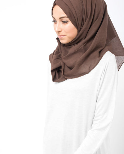 Cotton Voile Hijab in Chestnut Brown Maxi Chestnut Brown