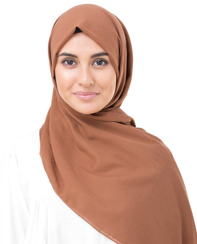 Cotton Voile Hijab in Cinnamon Stick Brown Color Regular Cinnamon Stick Brown