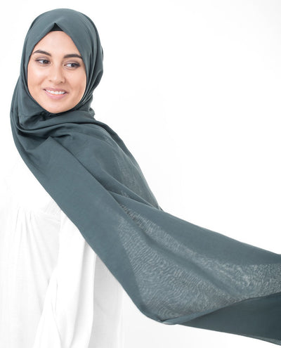 Cotton Voile Hijab in Dark Slate Blue Color Regular Dark Slate Blue