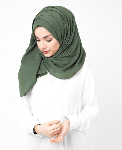 Cotton Voile Hijab in Deep Grass Green Regular Deep Grass Green