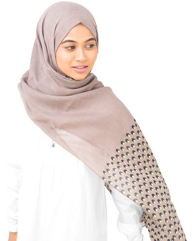 Cotton Voile Hijab in Geo Cube Regular Beige and Yellow