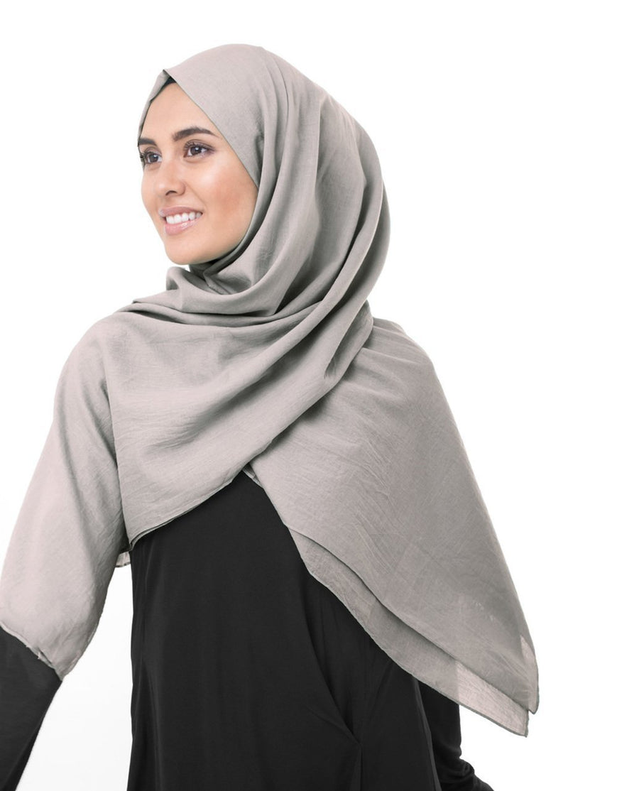 Cotton Voile Hijab in Ghost Grey Color Regular Ghost Grey
