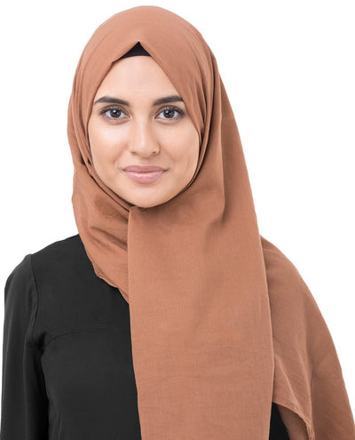 Cotton Voile Hijab in Hazel Brown Color Regular Hazel Brown