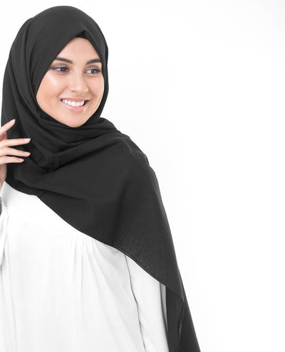Cotton Voile Hijab in Jet Black Regular Jet Black