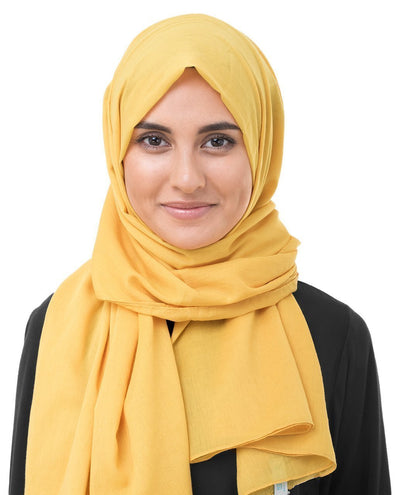 Cotton Voile Hijab in Lemonade Yellow Color Regular Lemonade Yellow