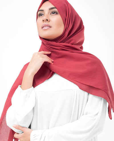 Cotton Voile Hijab in Lollipop Red Color Regular Lollipop Red