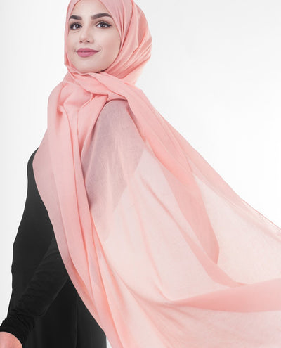 Cotton Voile Hijab in Peach Bud Color Regular Peach Bud