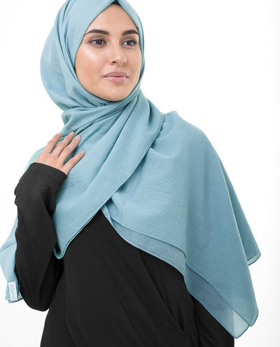 Cotton Voile Hijab in Sky Blue Regular Sky Blue