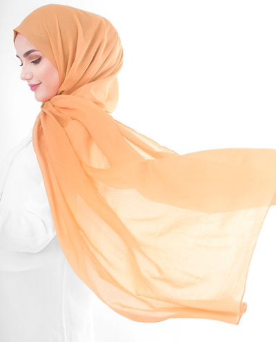 Cotton Voile Hijab in Tangerine Color Regular Tangerine