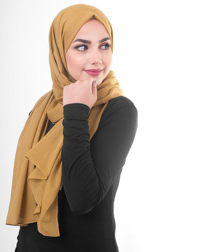 Cotton Voile Hijab in Tawny Olive Color Regular Tawny Olive