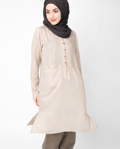 Creamy Button Up tunic Slim