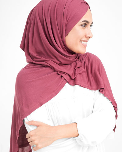 Crimson Red Viscose Jersey Hijab Medium Crimson Red