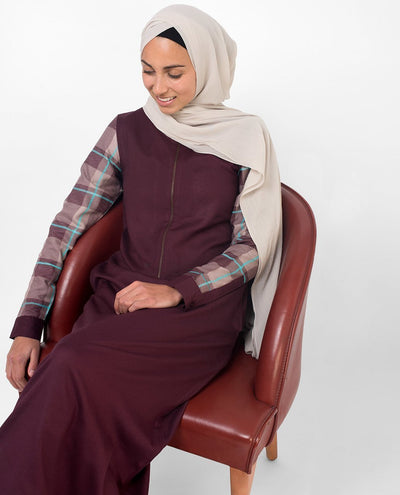 Feminine Checked Deep Purple Abaya Jilbab S 54 Purple