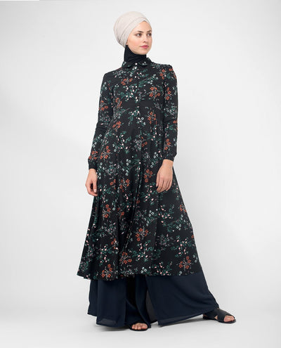 "Flared Black Floral Modest Shirt Dress Small (8-10) Petite (- 5'2"")"