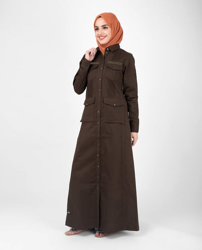 Full Front Open Utility Abaya Jilbab S 54 Brown