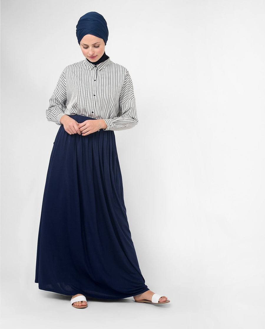 Full Length Navy Flared Skirt