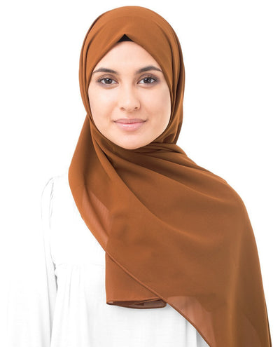 Glazed Ginger Brown Poly Georgette Hijab Regular Glazed Ginger Brown