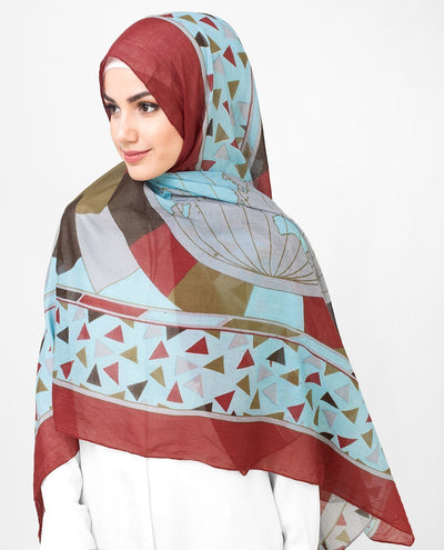 Grey and Red Cotton Voil Hijab Medium