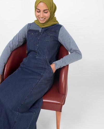 Grey Contrast Denim Jilbab S 54 Denim Blue