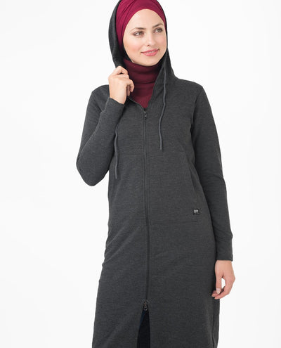 "Grey Warm Hooded Modest Top Small (8-10) Petite (- 5'2"")"