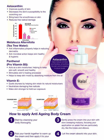 Halal Anti-Aging Body Cream Product Flyer