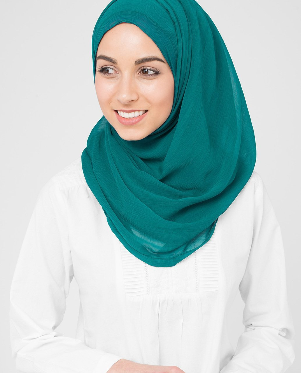 Chiffon Hijab Scarf Shawl Headcover In Harbor Blue Color Maxi Poly