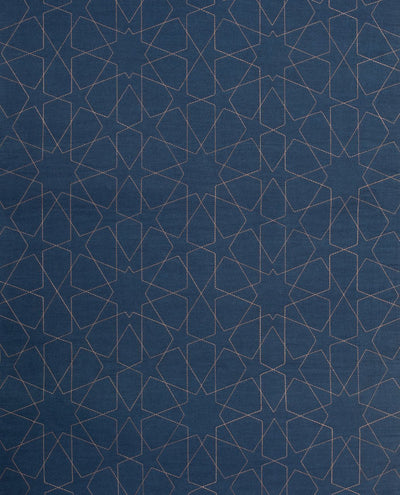 Islamic Prayer Mat Rug Janamaz in Blue Geometric Denim Arch-shaped Blue