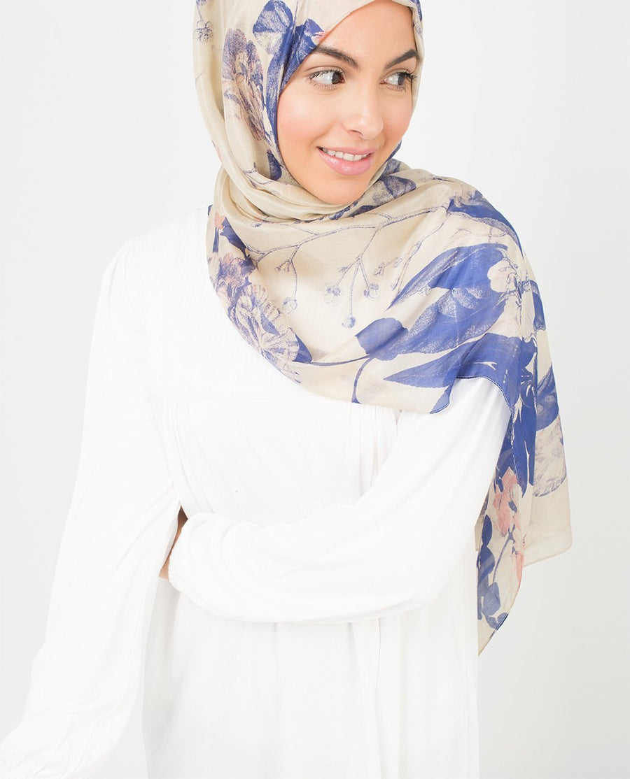 Ivory And Citadel Blue Silk Hijab
