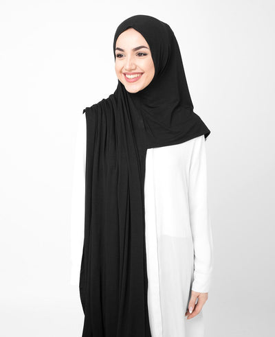 Jet Black Pinless Viscose Jersey Hijab Medium Black