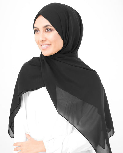 Jet Black Poly Georgette Hijab Regular Jet Black