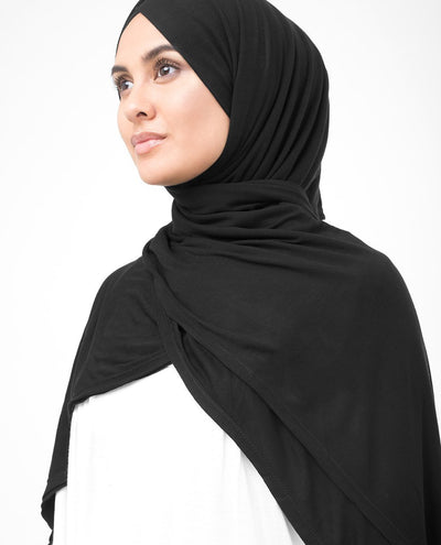 Jet Black Viscose Jersey Hijab Regular Jet Black