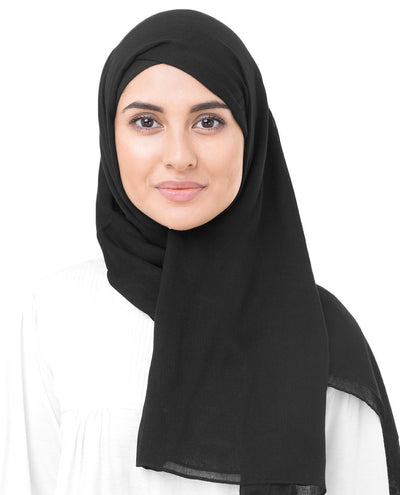 Jet Black Viscose Woven Hijab Regular